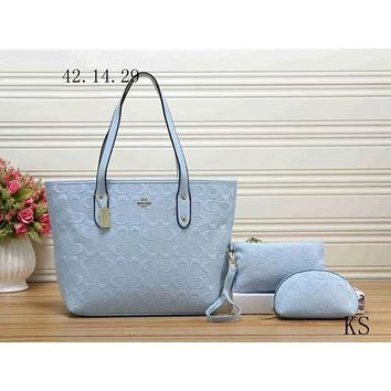 COACH Women Leather Shoulder Bag Handbag Tote Clutch Bag Cosmetic Bag Set Three-Piece