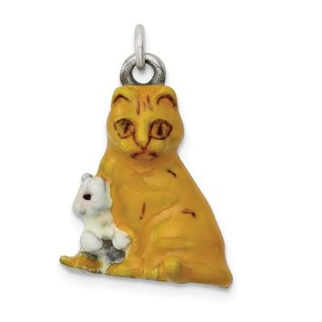 925 Sterling Silver Silver Enamel Mom and Kitten Cat Charm and Pendant