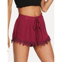 Drawstring Waist Lace Hem Shorts
