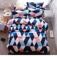 Geometric Bedding Sets Queen Size Colorful Diamond Printed 4pcs Duvet Cover Sets King Size Sheets Pillowcases