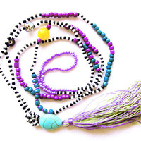 Purple and Emerald Green Tassel Necklace - Beaded Long Tassel Necklace
