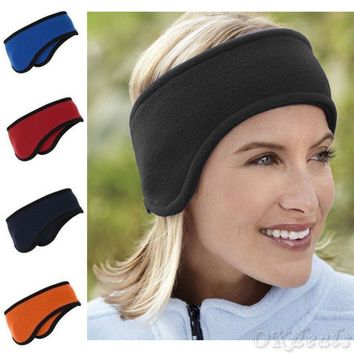 New fashion Women Men winter Polar Fleece Headband With Ear Warmers Ski Ear Muff Stretch Spandex Hairband Hair Band Accessories