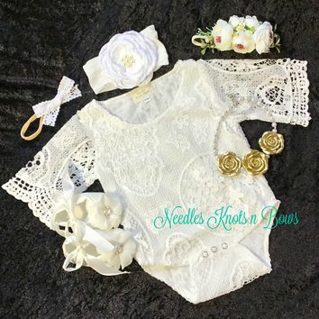 White Lace Boho Chic Baby Girls Outfit, Baptism / Christening Outfit, Boho White Flower Girls Romper