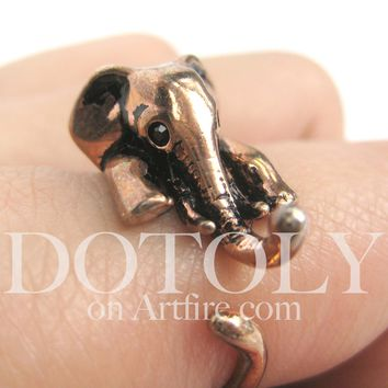 Miniature Elephant Animal Ring in SHINY Copper - in Sizes 4.5 to 10