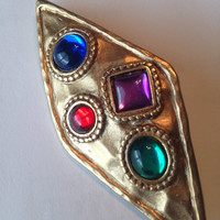 Vintage Brutalist Brooch Pin ~ Hammered Bronze Look ~ Blue Purple Green Red Stones ~ 3""