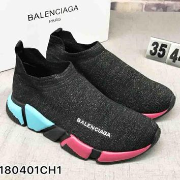 "Balenciaga Woman Men ""Socks shoes"" Fashion Breathable Sneakers Blue&Pink Soles Running Shoes B-CSXY"