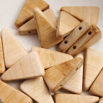Triangular wooden textured beads with four holes - natural eco friendly - set of 100 pcs
