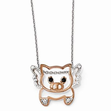 "Sterling Silver Rose-gold Plated CZ Flying Pig 18"" Necklace"