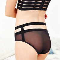 BKLYN Noir Mesh Cage High-Waist Brief- Black