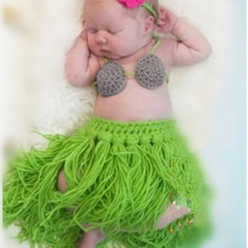New Girl Baby Newborn Beach Hula Grass Skirt Set Crochet Knit Costume Outfit Photography Photo Props Retail