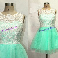 2014 mint tulle ivory lace bridesmaid dress short,cute a-line prom dresses hot,chic cheap women gowns for wedding party.