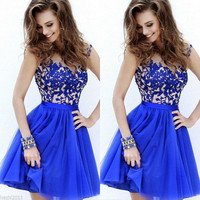 Women Short Lace Prom Ball Dress Formal Bridesmaid Evening Gown Dress