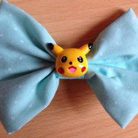 Pastel Mint Green Pikachu Hairbow - POKEMON, Anime, Manga, Fairy Kei, Cute, Kitsch, Kawaii, Sweet Lolita, Pastel Goth, Hipster, Polka Dot,
