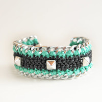 Studded bracelet with chain, mint and gray bracelet with studs, chunky bracelet, crochet bracelet