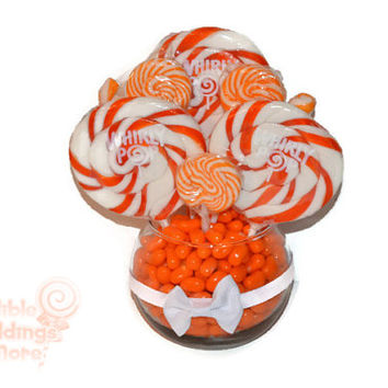 Small Orange Lollipop Centerpiece, Wedding Centerpiece, Orange, Lollipop Centerpiece, Candy, Buffet, Centerpiece, Orange Wedding, Sweet 16