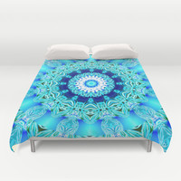 Blue Ice Glass Mandala, Abstract Aqua Lace Duvet Cover by Diane Clancy's Art | Society6