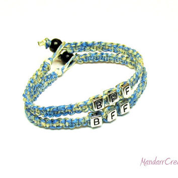 Best Friends Forever Bracelet Set, Blue and Beige Macrame Hemp Jewelry, BFF, Bestie
