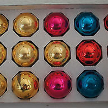 Retro Glass Christmas Ornaments in Red Pink Blue Yellow & Silver Collection