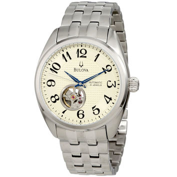 Bulova 96A124 Men's BVA Cream Textured Dial Stainless Steel Bracelet Automatic Watch