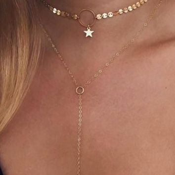 Beautiful Double Strand Star Choker and Long Lariat Gold Tone Necklace
