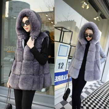 2017 autumn winter women new fox fur vest with a hood medium-long female long-sleeve 48 vest fur coat faux Fur