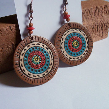 Polymer Clay Pendant Earrings, dangle earrings
