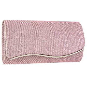 Shimmery Detail Metal Wave Accent Evening Clutch Bag