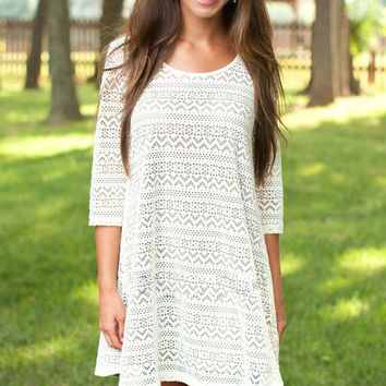 White Lace Cut-out Detail 3/4 Sleeves Swing Dress
