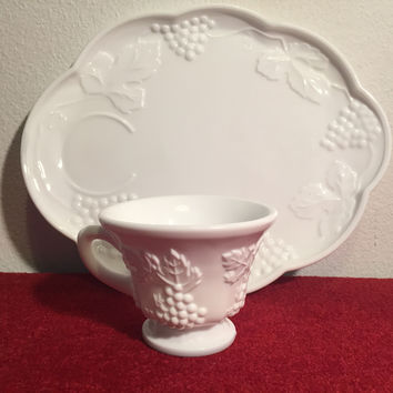 Vintage Indiana Glass Co, Harvest Grape Milk Glass Snack Tray /Cup (12 Place Settings Available)
