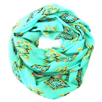 Spring Aztec Infinity Double Loop Scarf Aqua Green Circle Scarf Geometric Shapes Black Tan Tangerine Yellow Fun Women Teens Fashion Scarves