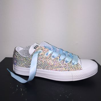All Star Mono White Converse Bedazzled In AB Crystals Baby Blue Laces