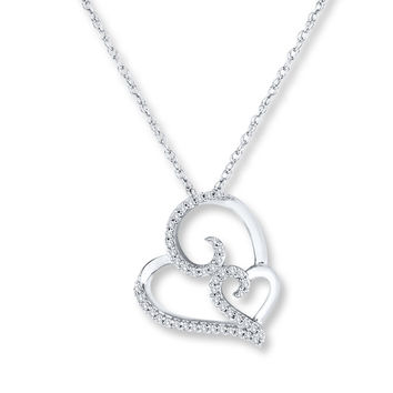 Heart Scroll Necklace 1/5 ct tw Diamonds Sterling Silver