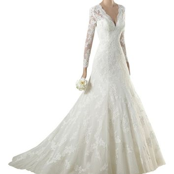 Harshori Womens V Neck Long Sleeves Lace Brush Train Tulle Wedding Dress