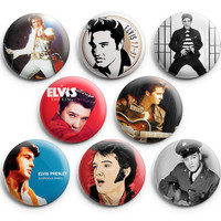 Elvis Presley Pinback Buttons Badge (Set of 8) 1.25 inches ,New