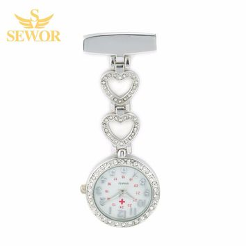 2017 SEWOR Luxury Womens Nurse Pendant Watches Chic Heart Stainless Steel Crystal Silver Pocket Watches Ladies Favorite C178