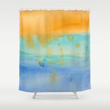 """Watercolor Shower Curtain - """"Ghosts of Daylight""""  Watercolor, unique, gold, seascape, blue, turquoise  painted, colorful, decor, home"""