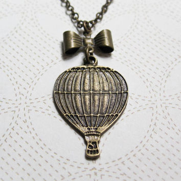 Hot Air Balloon & Bow Necklace - Whimsical Jewelry - Hot Air Balloon Jewelry - Vintage Inspired - World Traveler