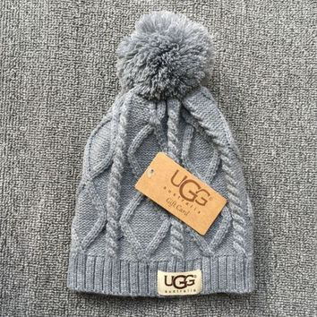 ONETOW UGG Autumn Winter Soft Knit Beanies Hat - Gray