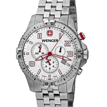 Wenger 77059 Men's Stainless Steel White Dial Chronograph Watch