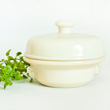 Vintage French Glass Foie Gras Jar, Pate Terrine, Mustard Pot Storage Container, Opalex Tarine brevetee, Made in France, French Country