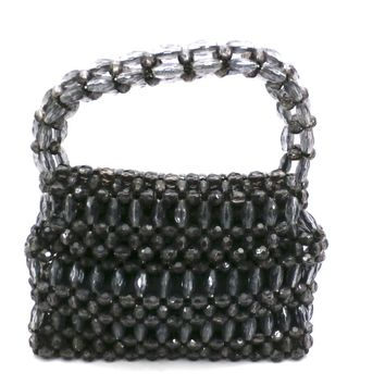 Vintage Purse Gray  Plastic Faceted Beads Handmade Hong Kong 1960S
