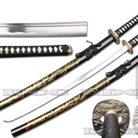 "LARGE 40.5"" HAND FORGE Handpainted Golden Dragon Japanese Samurai Katana Sword"
