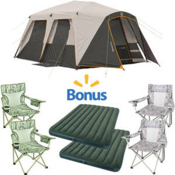 Walmart: Bushnell Shield Series 15' x 9' Instant Cabin Tent with Mattress & 4 Folding Chairs ($122.79 Savings)