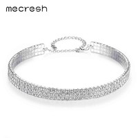 Mecresh Classic Rhinestone Torques Choker Necklace for Women Silver Color 3 Row European Prom Chocker Wedding Jewelry MXL093-3