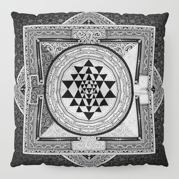 Sri Yantra Black & White Sacred Geometry Mandala Floor Pillow by inspiredimages