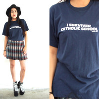 Vintage 80s CATHOLIC SCHOOL Survivor Navy T Shirt // Funny Humor Tee // Hipster Grunge // XS Extra Small / Small / Medium