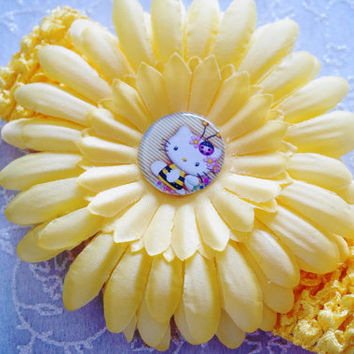 hair accessory for girls-Yellow Headband, Hairbow, Flower Hair Clip ,Headwear Crochet, Kid, Baby, Girl, Accessory ,Hello Kitty Accessory