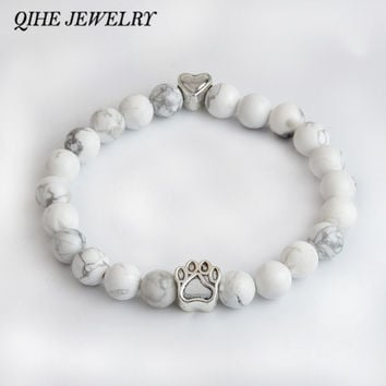 QIHE JEWELRY Tiny Anitique Silver Paw Print Charm Stone Bracelet Pet Memorial Cat Dog Lovers Jewelry For Men Women Unisex