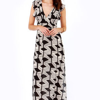 Fancy Drew Beige and Black Print Maxi Dress