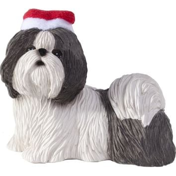 Sandicast Standing Silver & White Shih Tzu w/ Santa's Hat Christmas Dog Ornament